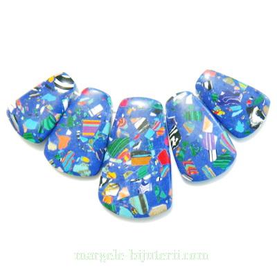 Compozit albastru cu turcoaz si portocaliu, set 5 buc 1 buc