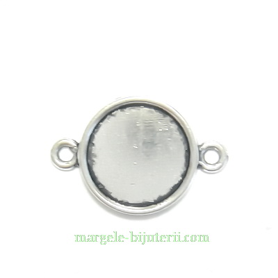 Conector / link cabochon, argintiu antichizat, 24x16mm, interior: 14mm 1 buc