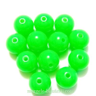 Margele plastic, verde-lime, 10mm 10 buc