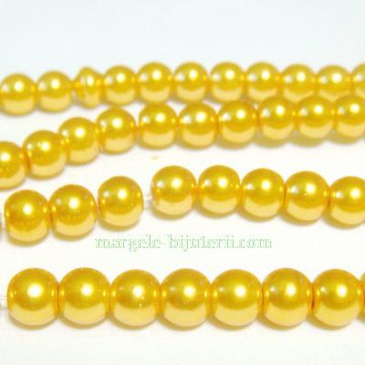 Perle sticla, auriu-metalizat, 6mm 10 buc