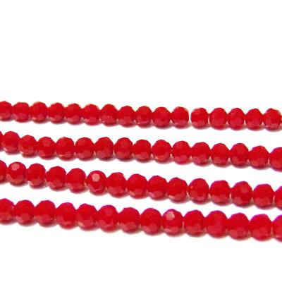 Margele sticla, multifete, opace, rosu inchis, 4.5x4mm 10 buc
