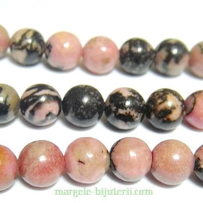 Rodonit sferic, roz cu negru, 8.5mm 1 buc