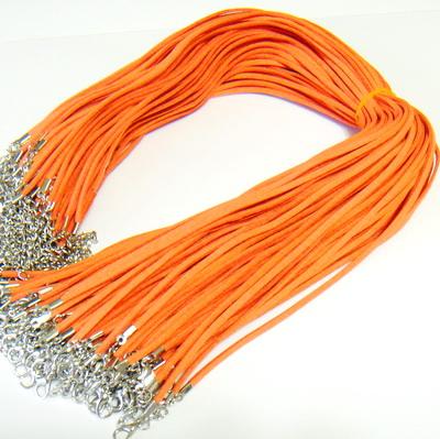 Snur faux suede, 3x1.5mm, portocaliu, cu inchizatoare, 45 cm 1 buc