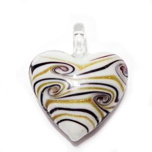 Pandantiv Murano, oval, rosu cu argintiu, 55x39x10mm 1 buc