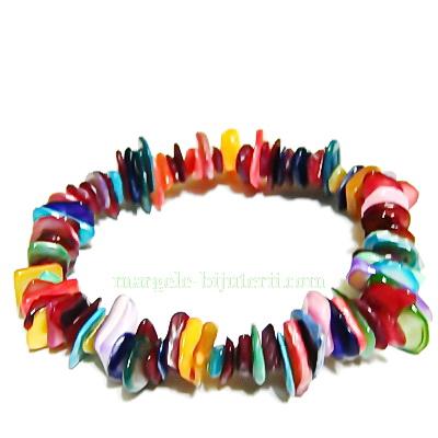 Bratara elastica, sidef multicolor, diametru 8cm 1 buc
