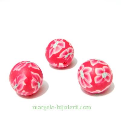 Margele fimo, rosii cu flori roz,10mm 1 buc