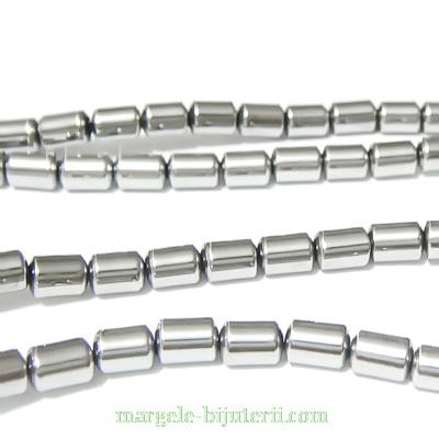 Hematite nemagnetice, argintii, placate, cilindrice, 5.5x4mm 1 buc
