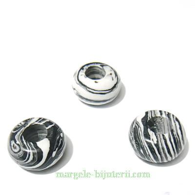 Margele tip Pandora, compozit negru cu alb, 14x8 1 buc