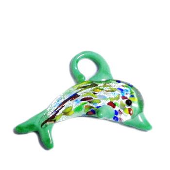 Pandantiv sticla, lampwork, cu foita argintie, delfin, verde, 60x34mm 1 buc