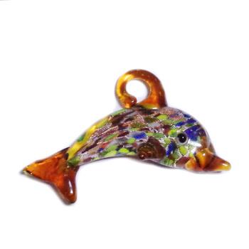 Pandantiv sticla, lampwork, cu foita argintie, delfin, albastru, 60x34mm 1 buc