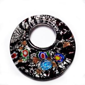 Pandantiv sticla, lampwork, cu flori Mileffiori, negru, 48x9mm 1 buc