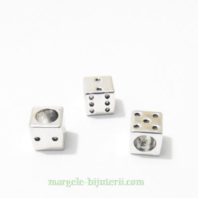 Margele tibetane, stil Pandora, zar, 7x7x7mm, orificiu: 5mm 1 buc