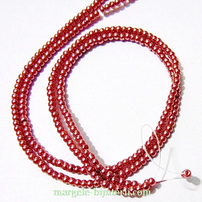 Perle sticla, maro-roz, 3mm- sirag ~220-230 buc  1 buc