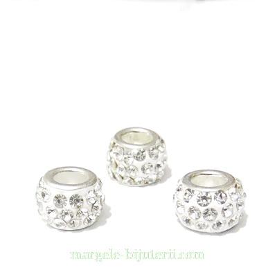 Margele fimo, tip Pandora,  rhinestone, albe, 11x7mm 1 buc