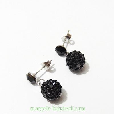 Cercei margele shamballa negre 10mm, accesorii otel inoxidabil 304 1 pereche