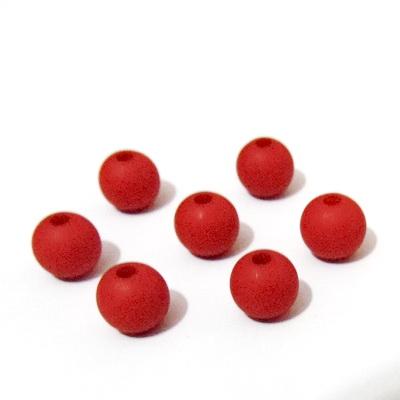 Margele plastic, mate, rosii, 8mm 10 buc