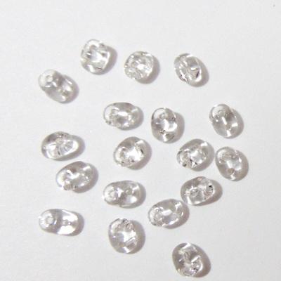 Margele Superduo 2,5x5mm, transparente, gri-argintiu 5 g