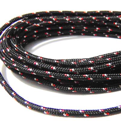 Snur paracord, negru cu rosu si alb, 4mm 1 m