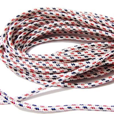 Snur paracord, alb cu rosu si albastru, 4mm 1 m