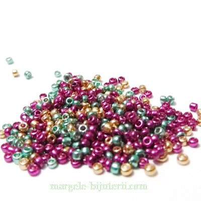 Margele nisip, multicolore, metalizate, 2mm 20 g