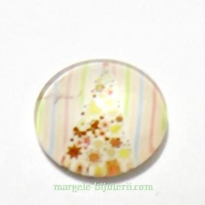 Cabochon sticla ,,Craciun'', 14x4.5mm, model 16 1 buc
