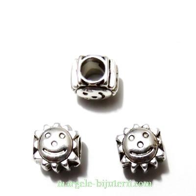 Distantier tibetan, tip Pandora, Smile, 10x9mm 1 buc