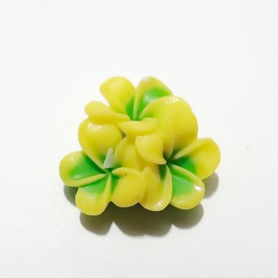 Cabochon rasina, 3 flori galben cu verde, 21x21x10mm 1 buc
