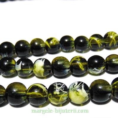 Margele sticla transparente, cu negru, galben si alb, 10mm 10 buc