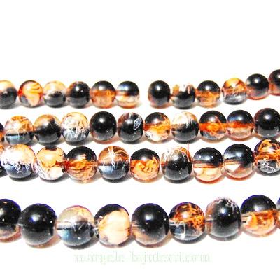 Margele sticla transparente, cu negru portocaliu si alb, 8mm 10 buc