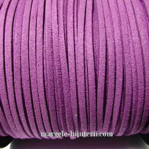 Snur faux suede, violet, grosime 3x1.5mm 1 m