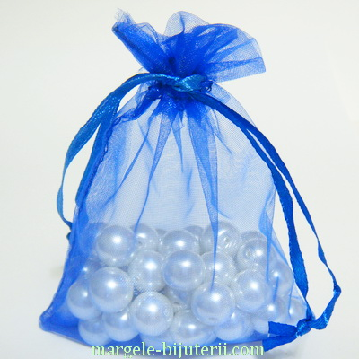 Saculeti organza albastru-cobalt, 14x9 cm,  interior 11x9cm  1 buc
