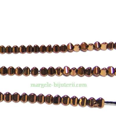 Hematite nemagnetice, placare maro-roscat, triunghi 4x3mm  1 buc