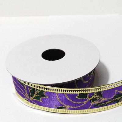 Panglica ribbon violet cu lurex auriu, latime 24mm-rola 2.7m 1 buc