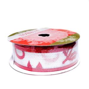 Panglica ribbon alb cu buline si frunzulite rosii, latime 24mm-rola 2.7m 1 buc
