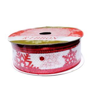 Panglica catifea rosie (ribbon) cu kaky si lurex auriu, latime 24mm-rola 2.7m 1 buc