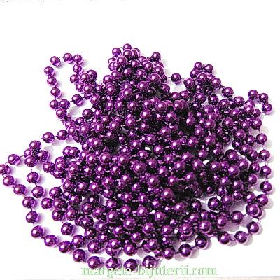 Margele plastic violet, 8mm, insituite pe ata - 5 metri 1 buc