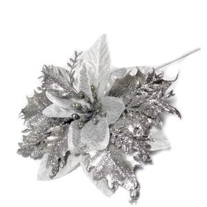 Craciunita argintie cu frunzulite glitter argintiu, 12-13cm 1 buc