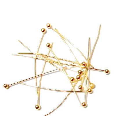 Ace cu bumb, aurii, 25x0.5mm 50 buc
