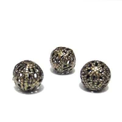 Margele filigran. culoare bronz, 10 mm 1 buc