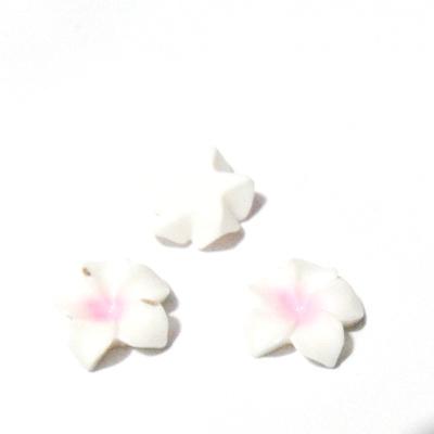 Cabochon rasina, floare alba cu roz, 16x5mm 1 buc