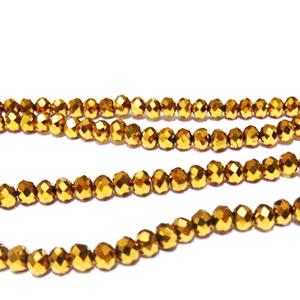 Margele sticla multifete auriu-metalizat, rondel, 4x3mm  10 buc