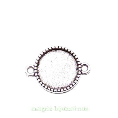 Conector / link cabochon, argint tibetan, 23x16mm, interior: 14mm 1 buc