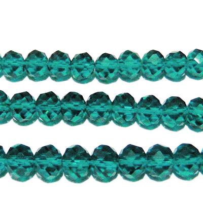 Margele sticla, multifete, verde-slarald, transparente, 10x8mm 1 buc