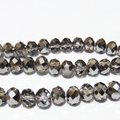 Margele sticla, multifete, rondel, negru-semimetalizat, 8x6mm 1 buc