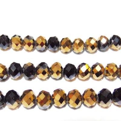 Margele sticla, multifete, rondel, negre cu auriu, 10x8mm 1 buc