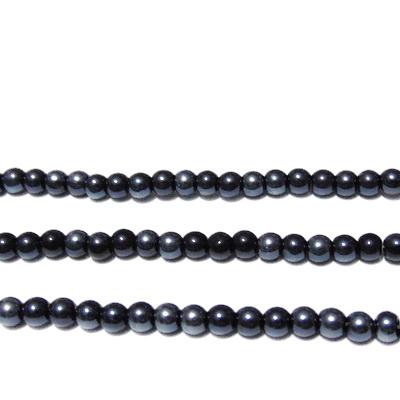 Perle sticla, negre-hematit, 4mm 10 buc