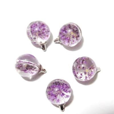 Pandantiv sticla, sferic, 20x15mm, interior floare violet 1 buc