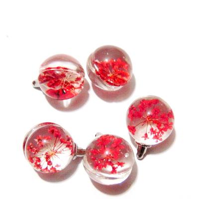 Pandantiv sticla, sferic, 20x15mm, interior floare rosie 1 buc