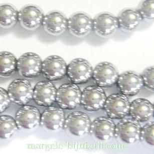 Hematite nemagnetice, placate argintii, 6mm 1 buc