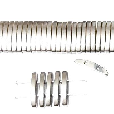 Hematite  placate cu argintiu, cu 2 orificii, 19x2.5mm 1 buc